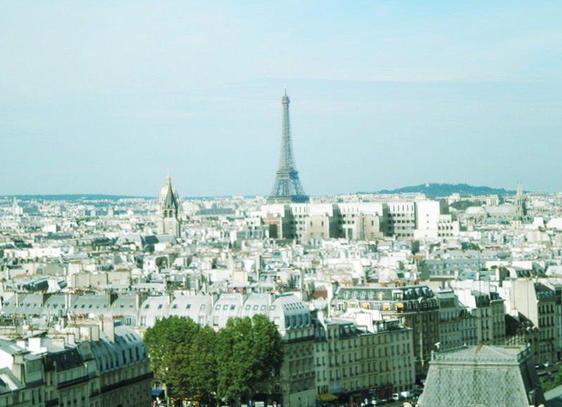 ノートルダム寺院からパリを一望